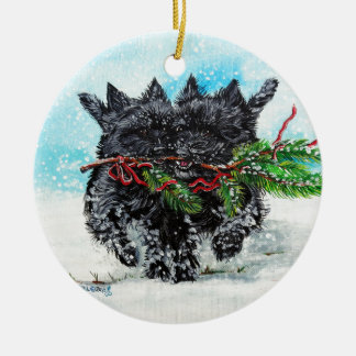 Cairn Terrier Christmas Ceramic Ornament