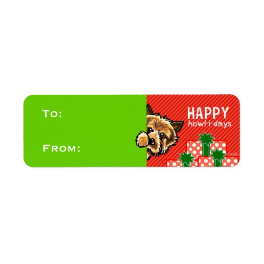 Cairn Terrier Christmas Gift Tags Red Green Return Address Label
