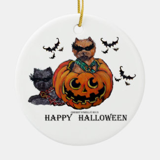 Cairn Terrier Halloween Ceramic Ornament