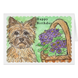 Cairn Terrier Happy Birthday card pansies basket