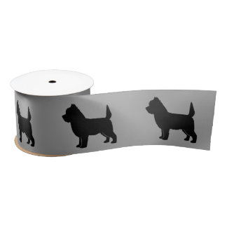 """Cairn Terrier in Silhouette 3"""" Satin Ribbon"""