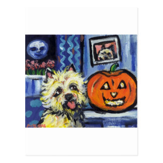 Cairn Terrier investigates glowing pumpkin Postcard