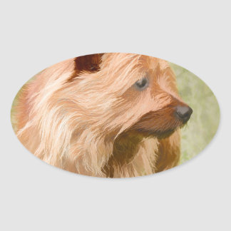 Cairn Terrier - Painting Oval Sticker