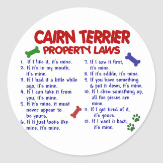 CAIRN TERRIER Property Laws 2 Stickers