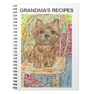 Cairn terrier recipe book grandma personalise  mum spiral note books