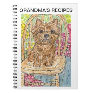 Cairn terrier recipe book grandma personalise  mum spiral note books