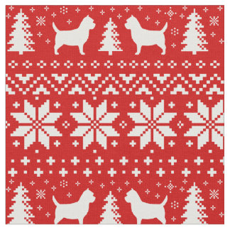 Cairn Terrier Silhouettes Christmas Pattern Red Fabric