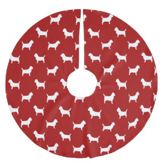 Cairn Terrier Silhouettes Pattern Red Brushed Polyester Tree Skirt