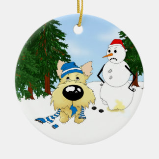 Cairn Terrier Winter Scene Ceramic Ornament