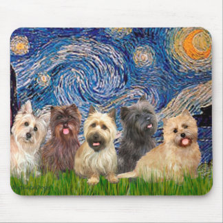 Cairn Terriers Five - Starry Night Mouse Pad