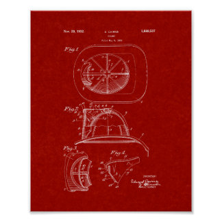 Cairns Fireman Helmet Patent - Burgundy Red Poster