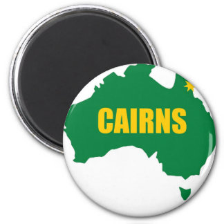 Cairns Green and Gold Map 6 Cm Round Magnet