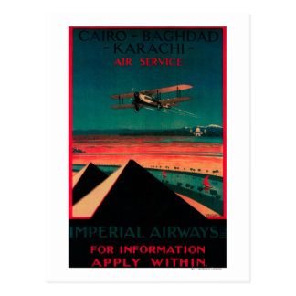 Cairo - Bagdad - Karachi Air Vintage Poster Postcard