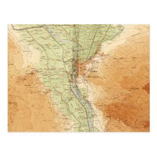 Cairo & Environs, Map of Egypt (1925) Postcard