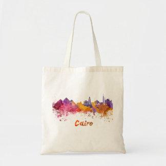 Cairo skyline in watercolor tote bag