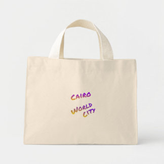 Cairo world city, colorful text art mini tote bag