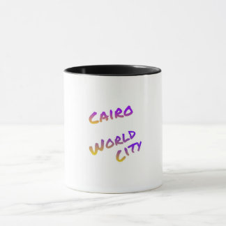 Cairo world city, colorful text art mug