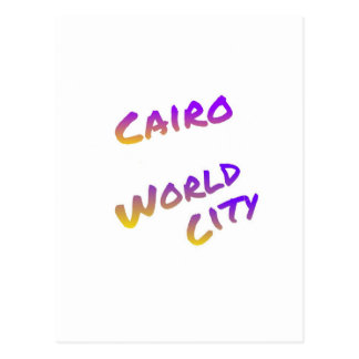 Cairo world city, colorful text art postcard