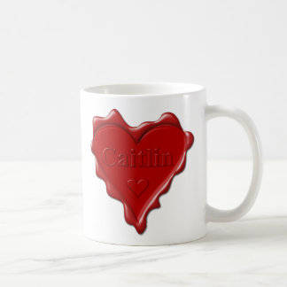 Caitlin. Red heart wax seal with name Caitlin Coffee Mug