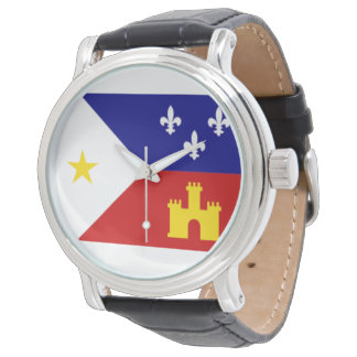 Cajun Acadiana Flag Round Faced Watch