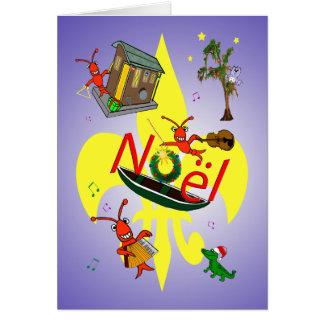 Cajun Crawfish and Fleur de Lys Christmas Card