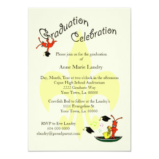 Cajun Crawfish Fleur de Lis Graduation Invitation