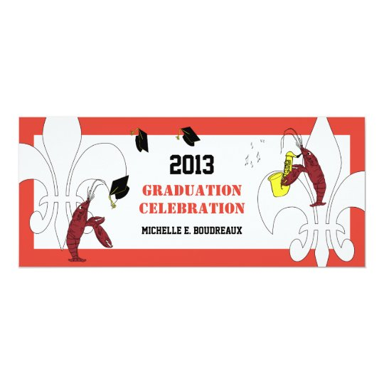 Cajun Crawfish Jazz Graduation Party Card