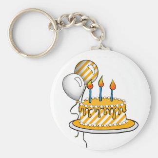 Cake-007 Yellow & White Stripes Key Chain