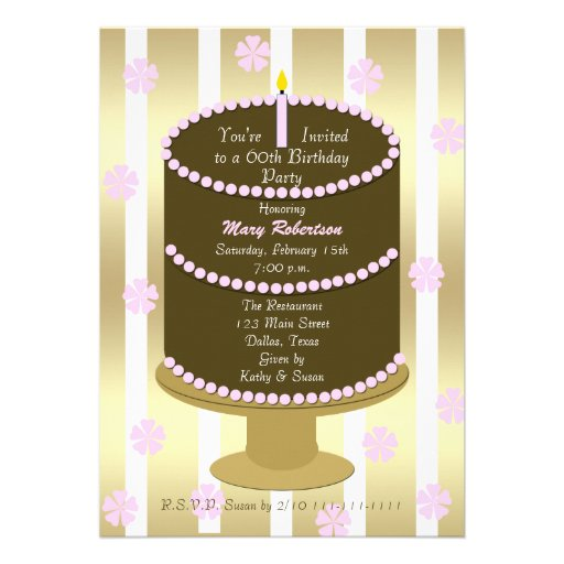 Cake 60th Birthday Party Invitation - 60th in Pink Personalized Announcement