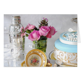 Cake and Pink Roses 30th Greetings Card