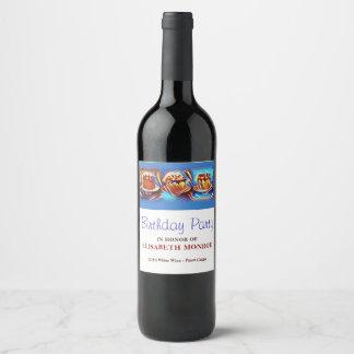 Cake Art Blue Birthday Party Wine Label