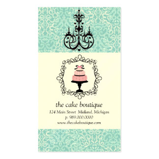 Cake Boutique Fancy Teal Damask Business Cards