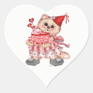 CAKE CAT AutoCollant Heart Stickers