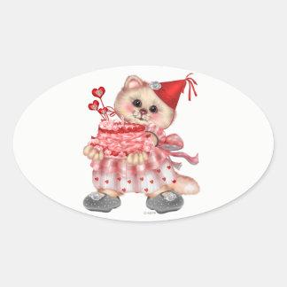 CAKE CAT AutoCollant Oval Stickers
