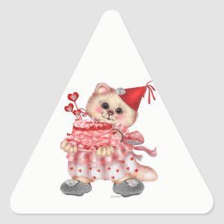 CAKE CAT AutoCollant Triangle Stickers