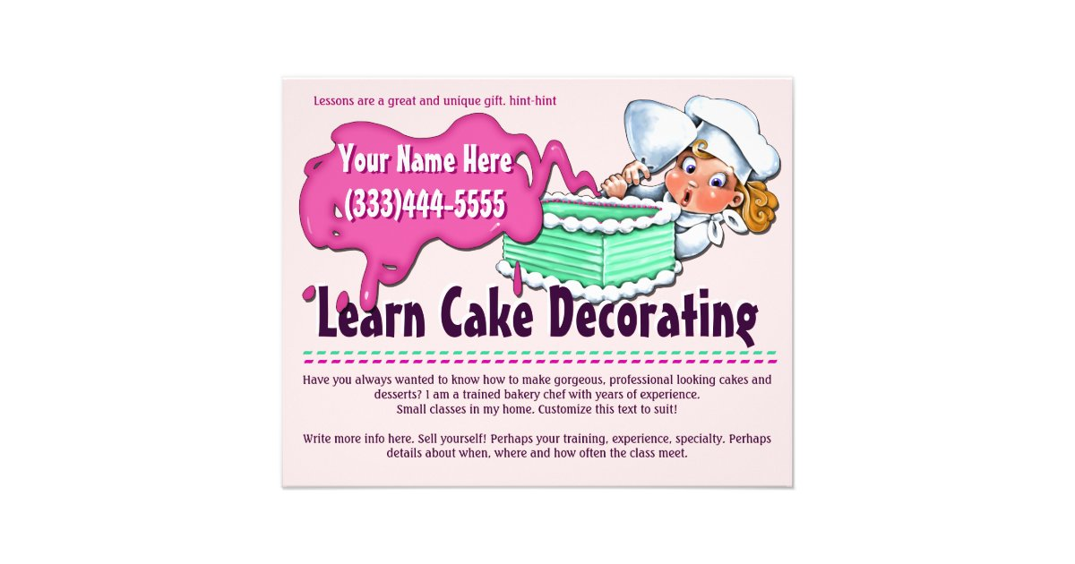 Cake Making Classes In Pitampura : Cake Decorating. Baking. Classes. Lessons Flyer Zazzle ...
