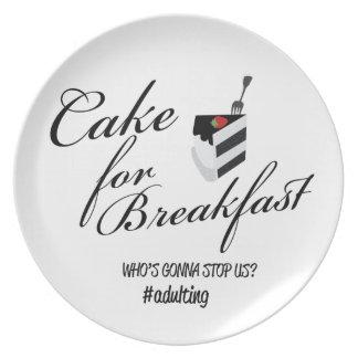Cake For Breakfast Plate-Black+White Dinner Plate