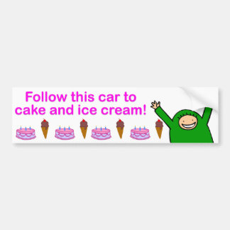 Cake & Ice Cream (Pink Text) Bumper Sticker