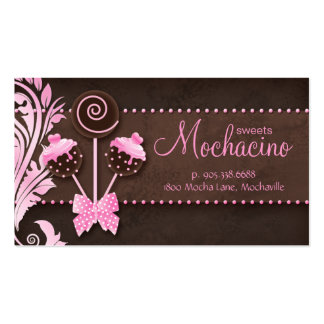Cake Pops Business Card Bakery Pink Brown Vintage