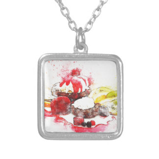 cake silver plated necklace