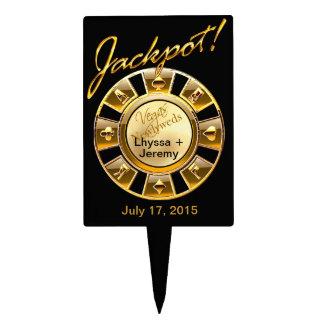 CAKE TOPPER Las Vegas Wedding Jackpot black gold
