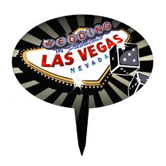CAKE TOPPER Las Vegas Wedding Sign black silver