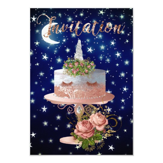 Cake Unicorn Rose Gold Blue Navy Starry Night Card