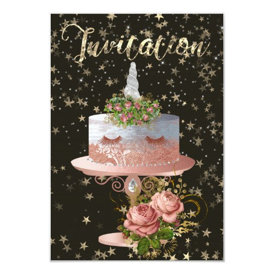 Cake Unicorn Rose Gold Confetti Stars Gold Night Card