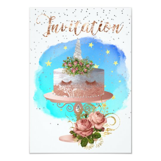 Cake Unicorn Rose Gold Watercolor Star Aqua Ocean Card