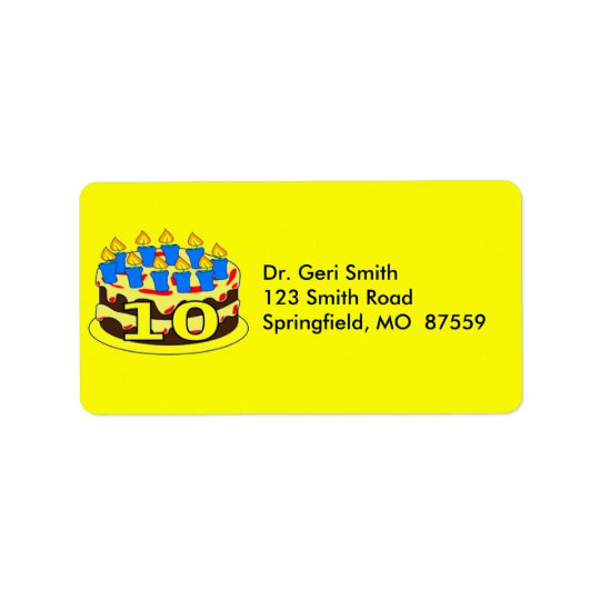 Cake With 10 Blue Candles Address Label