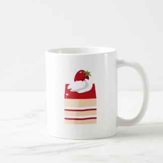 Cake with strawberry coffee mugs