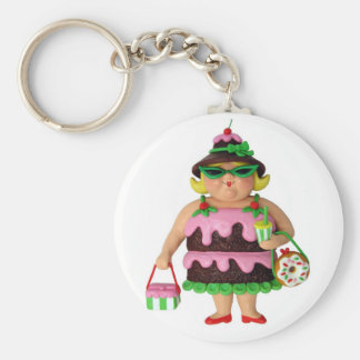 Cake Woman Basic Round Button Key Ring