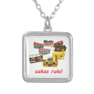 cakes rule cake face logo silver plated necklace