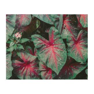 Caladium Leaf Pattern Wood Wall Art